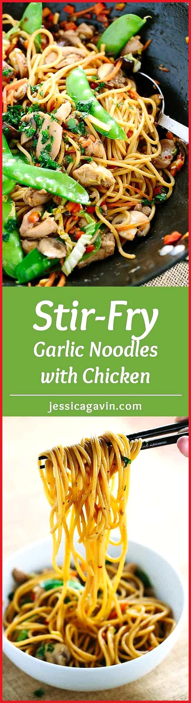 Stir-Fried Garlic Noodles with Chicken Stir-fried garlic noodles served with tender pieces of chick
