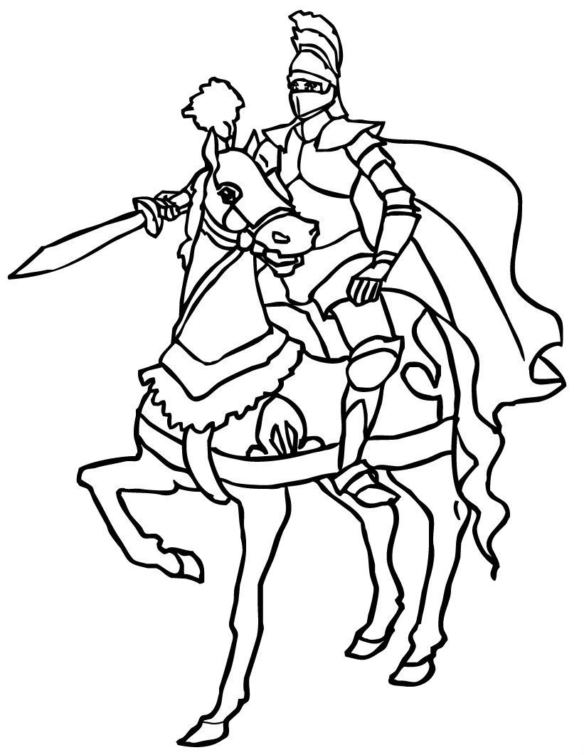 Brave Knights Horse Coloring Pages Horse Coloring Knight On Horse
