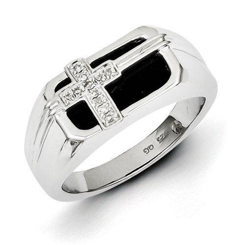 Jewelry Adviser Rings Sterling Silver Rhodium Diamond Gents Ring