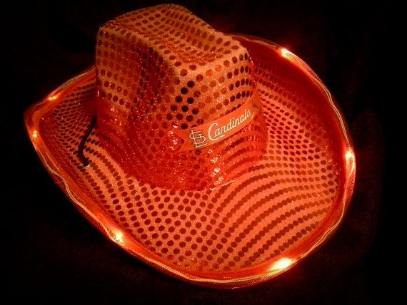 3622faa56cf St. Louis Cardinals Fan Cowboy Hat with flashing lights and sequins on  Etsy