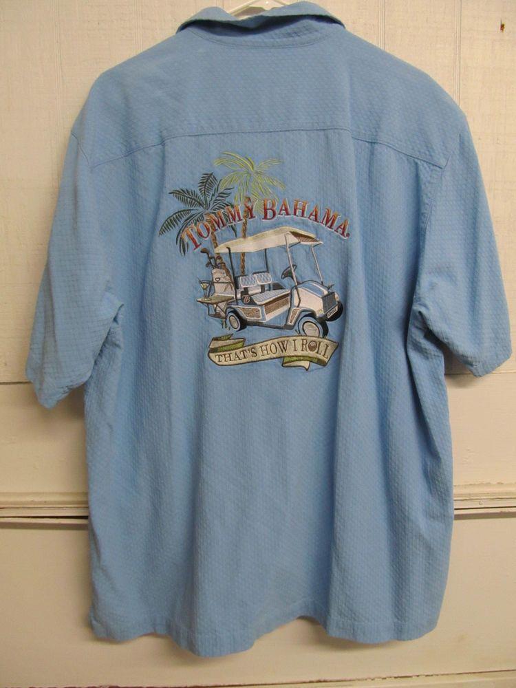 Tommy Bahama Men 39 S Blue Silk Embroidered Hawaiian Shirt Xl