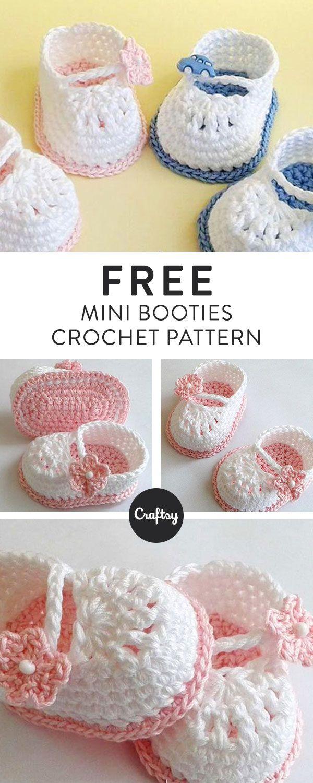 Crochet pattern Mini booties | Babyschühchen, Häkeln und Schuhe