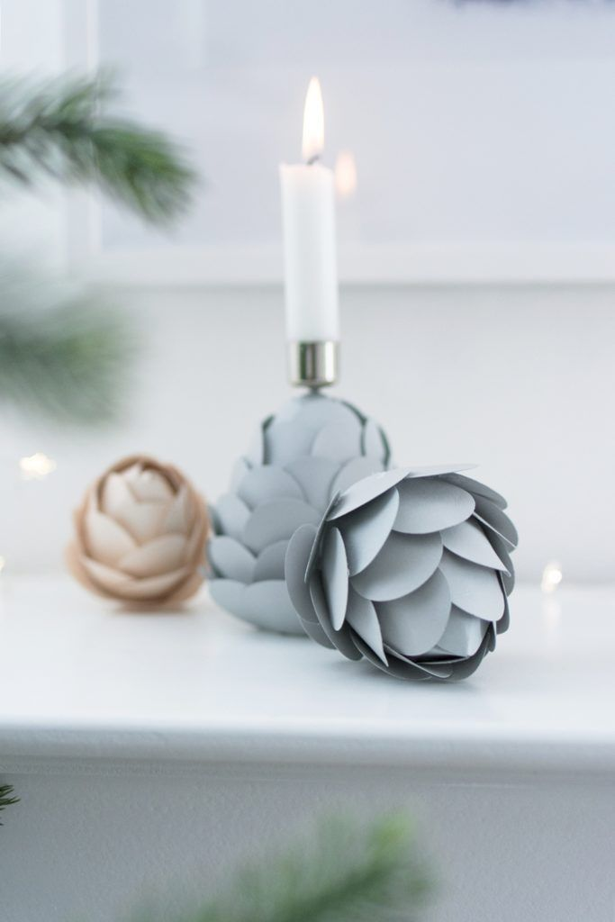 Photo of DIY winter decoration: paper pine cones as candle holders – Sinnenrausch – The creative DIY blog for the homely and do-it-yourself