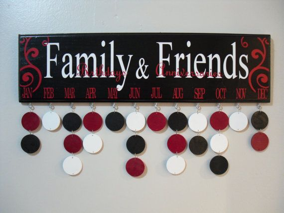 Family Friends Birthdays and Anniversaries, Wood Birthday Calendar, (Black/White/Red) on Etsy, $40.00