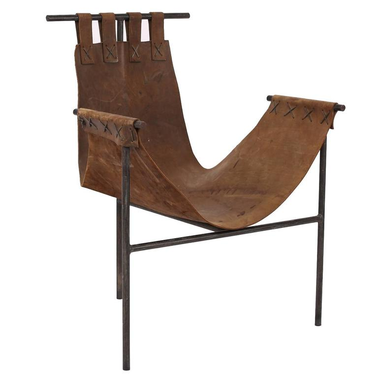 Iron And Brown Saddle Leather Sling Chair By Arizona Architect Bill Tull Leather Sling Chair Comfy Leather Chair Sling Chair