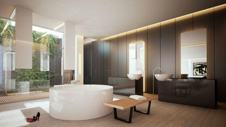 Rivestimento In Legno Per Vasca Da Bagno : Sala da bagno con vasca forma arrotondata rivestimenti bagni esempi