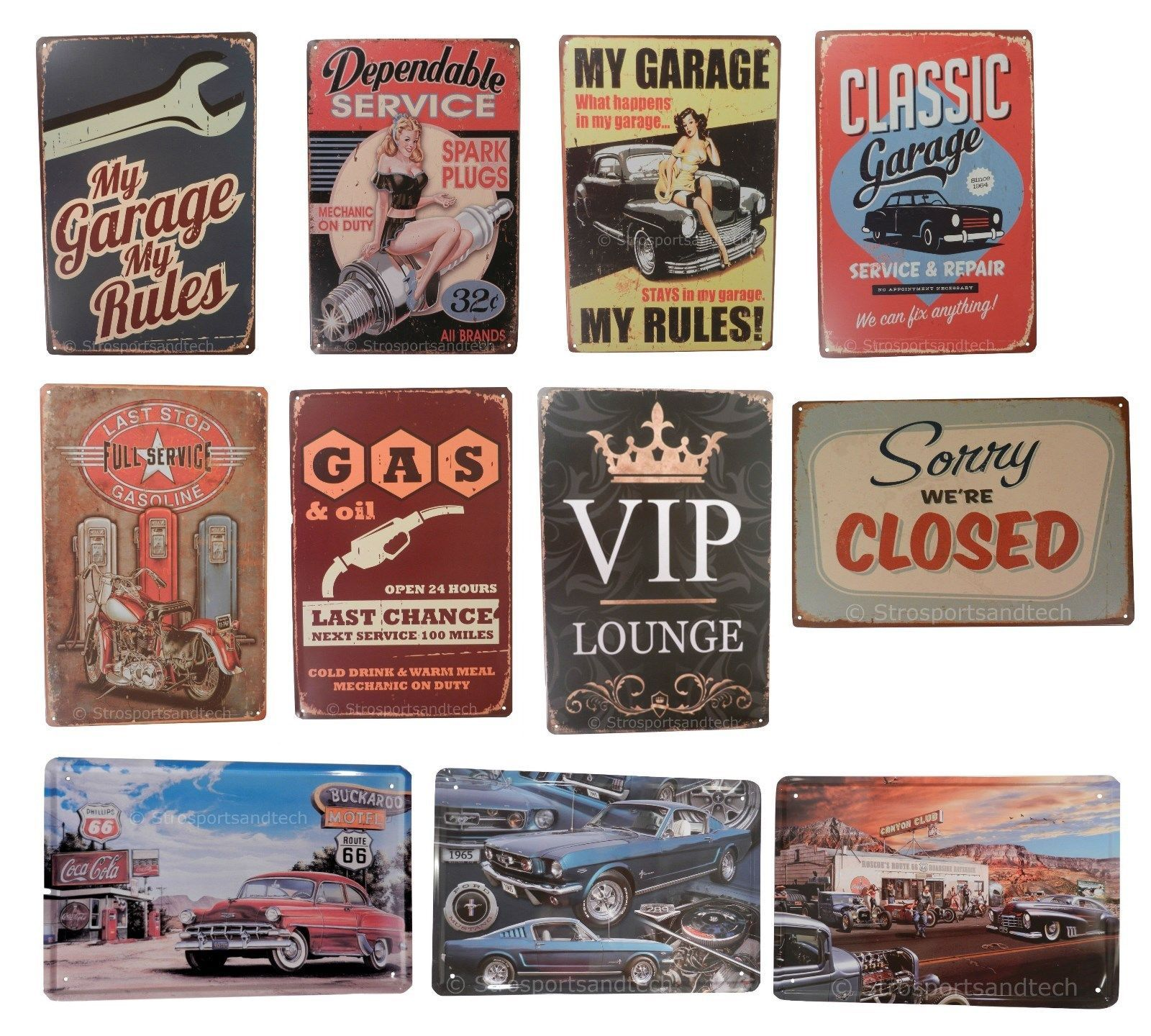 Mechanic rules antique car funny tin sign bar garage home art wall