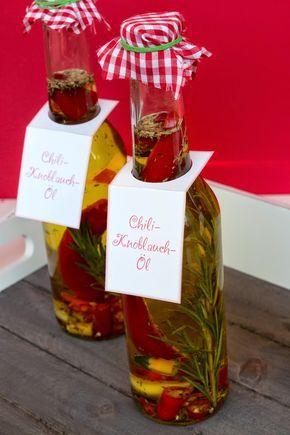 Chili-Kräuter-Öl, Chili-Knoblauch-Öl, Chiliöl, Chili-Öl - geschenke aus der küche rezepte