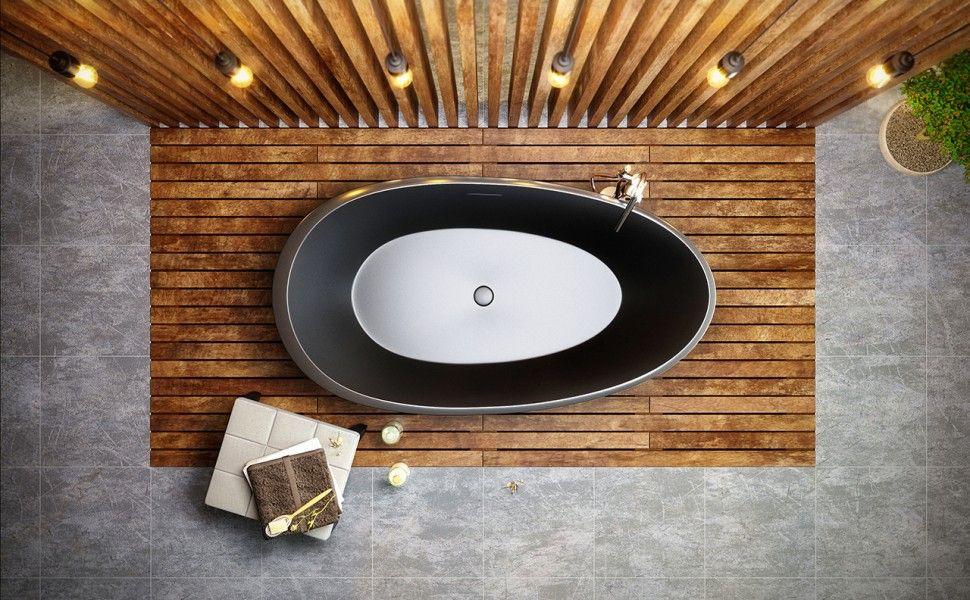 Aquatica Spoon 2 Egg Shaped Graphite Black Solid Surface Bathtub ...