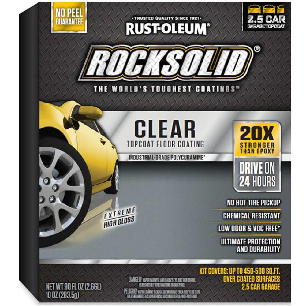 Rust Oleum Rocksolid 90 Oz Clear Polycuramine Top Coat Garage Floor Kit 365192 The Home Depot Floor Coating Garage Floor Rustoleum