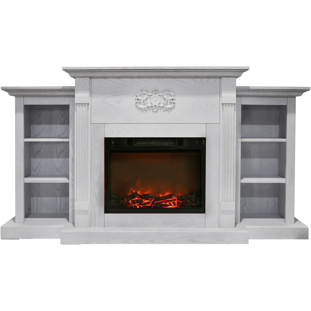 Cambridge Sanoma 72 In Electric Fireplace In White With Built In