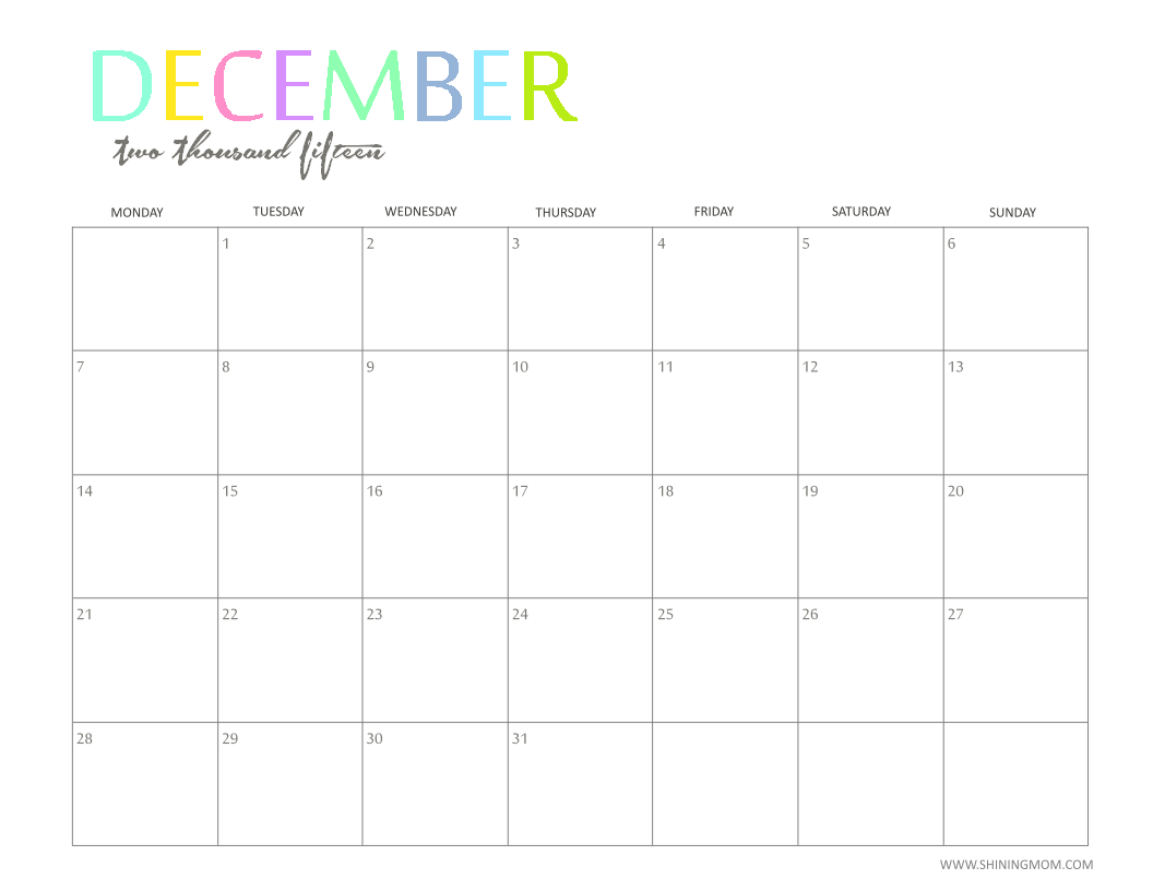 The Printable 2015 Monthly Calendar by ShiningMom.com is Here ...