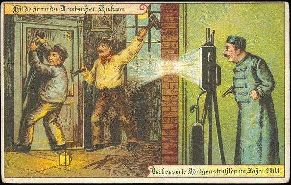 Postcards of the year 2000 c.1900 - Police X-Ray Surveillance Machine