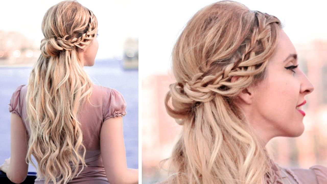 Half up half down hairstyle with lace waterfall braid for medium/long ha...