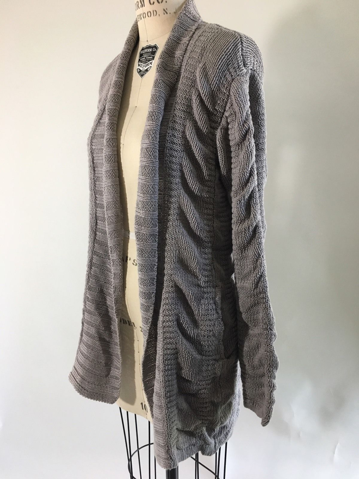 Helmut Lang Ruched Gray Long Sleeve Cool Hvy Linen Draped Cardigan ...