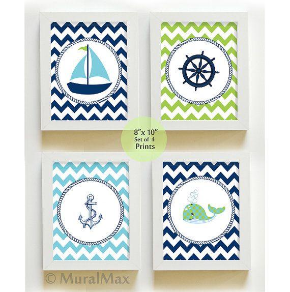 Sophisticated Modern Nautical Nursery: Nautical Print Set