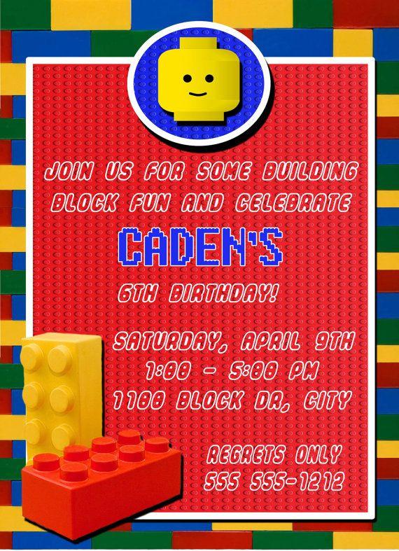 Birthday Invitation Birthday Card Lego Building Blocks Party Card 5