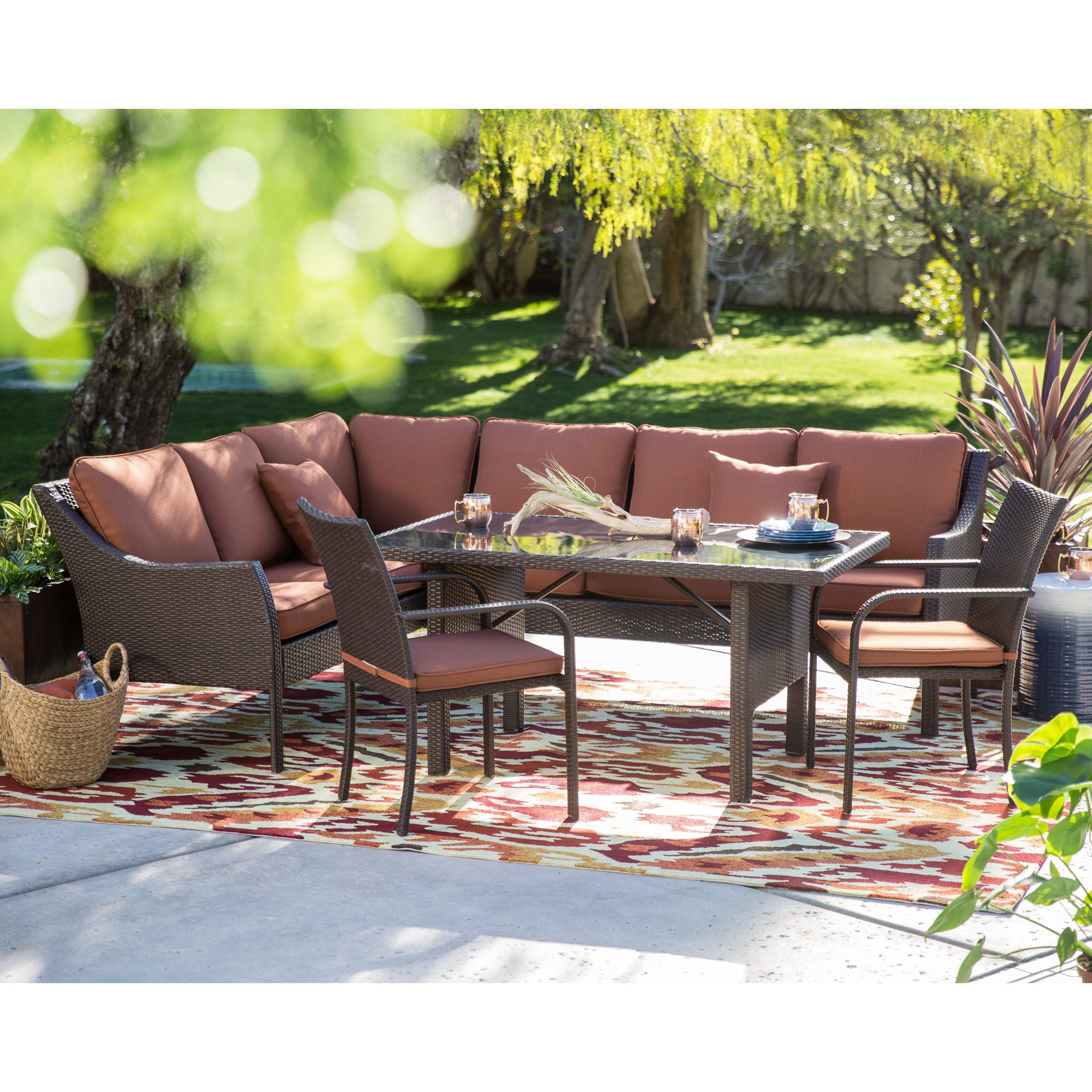Belham Living Devon All Weather Wicker Sofa Sectional Patio Dining