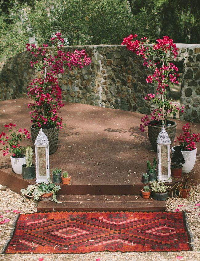 bougainvillea arbor | boho bohemian eclectic handmade ranch wedding | ceremony backdrop