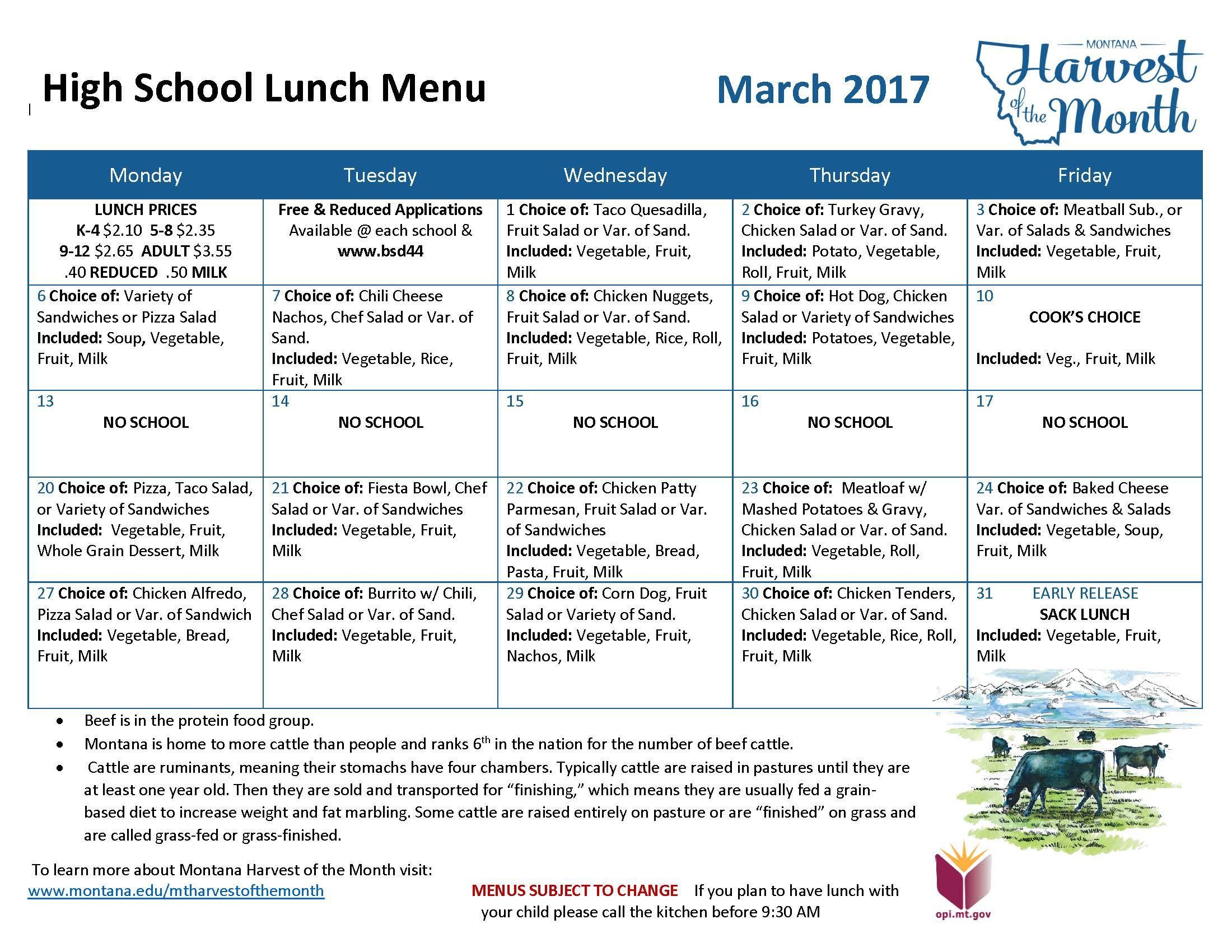 March 2017 High School Lunch Menu HOM | Lunch & Breakfast Menus ...