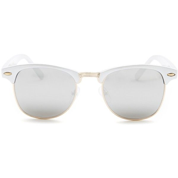 Betsey Johnson Women's Club Retro Sunglasses (27 AUD) ❤ liked on Polyvore featuring accessories, eyewear, sunglasses, silver, betsey johnson, mirrored lens sunglasses, mirrored sunglasses, mirror sunglasses and mirror glasses