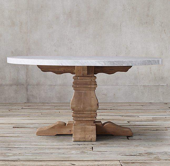 "Salvaged Wood & Marble Trestle Round Dining Table Carerra marble top 48"" round $3495"