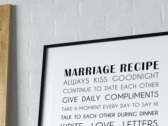 PERSONALISED Marriage Recipe, Recipe for Marriage, Couple Goals, Anniversary Gift, Wedding Gift, Eng
