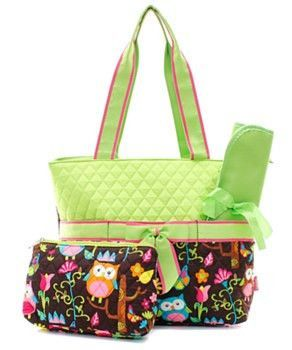 Three Piece Diaper Bag Set Featuring Lime Green And Owls So Cute For Your Baby Includes Changing Pad Zipper Pouch