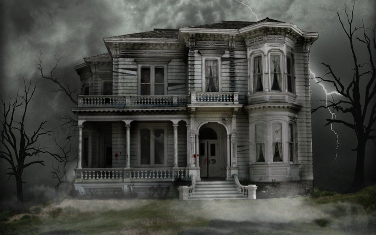 Gothic Haunted House Halloween Picture Poster Ghost Horror Art Framed Print