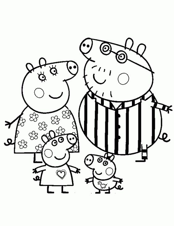 Peppa Pig and her family wearing pajamas coloring page | Nick Jr ...