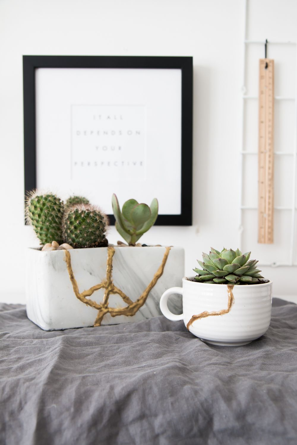 Fix broken ceramics with a kintsugi repair kit from @moraapproved and create some gold planters