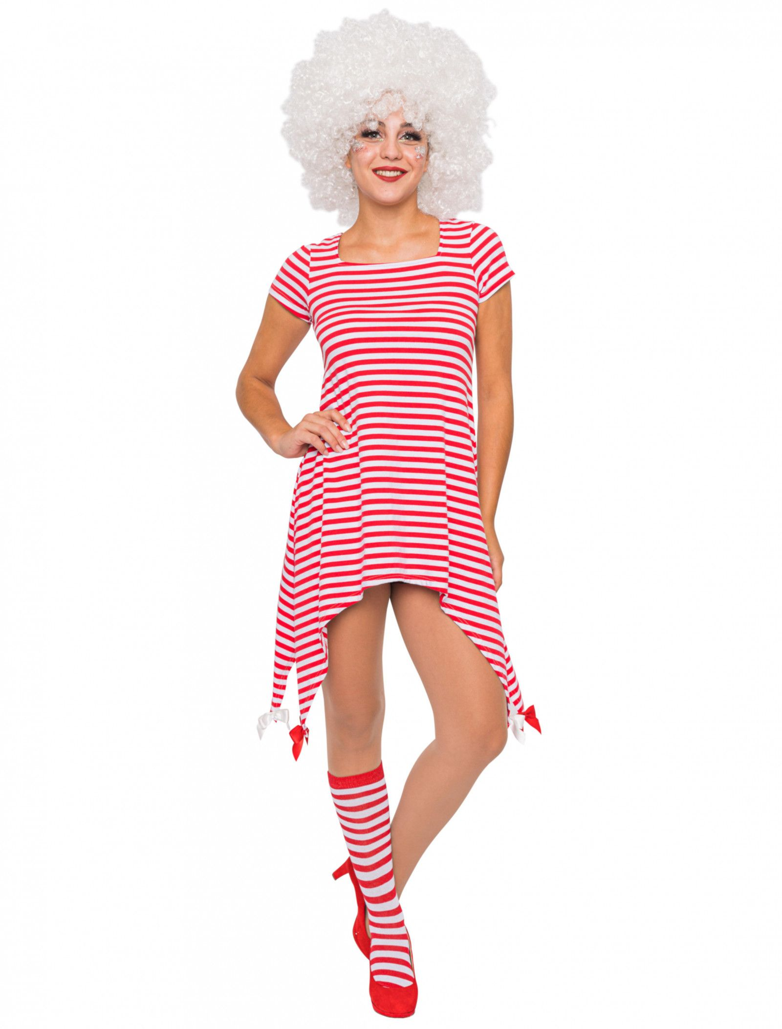 deiters kostüm clown tunika rot-weiß | rot weiss, lange