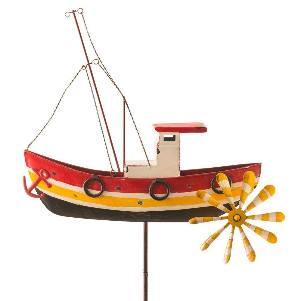 Luxury Windrad Windspiel Windm hle Metall Garten DEKO Gartenstecker Fischerboot Schiff
