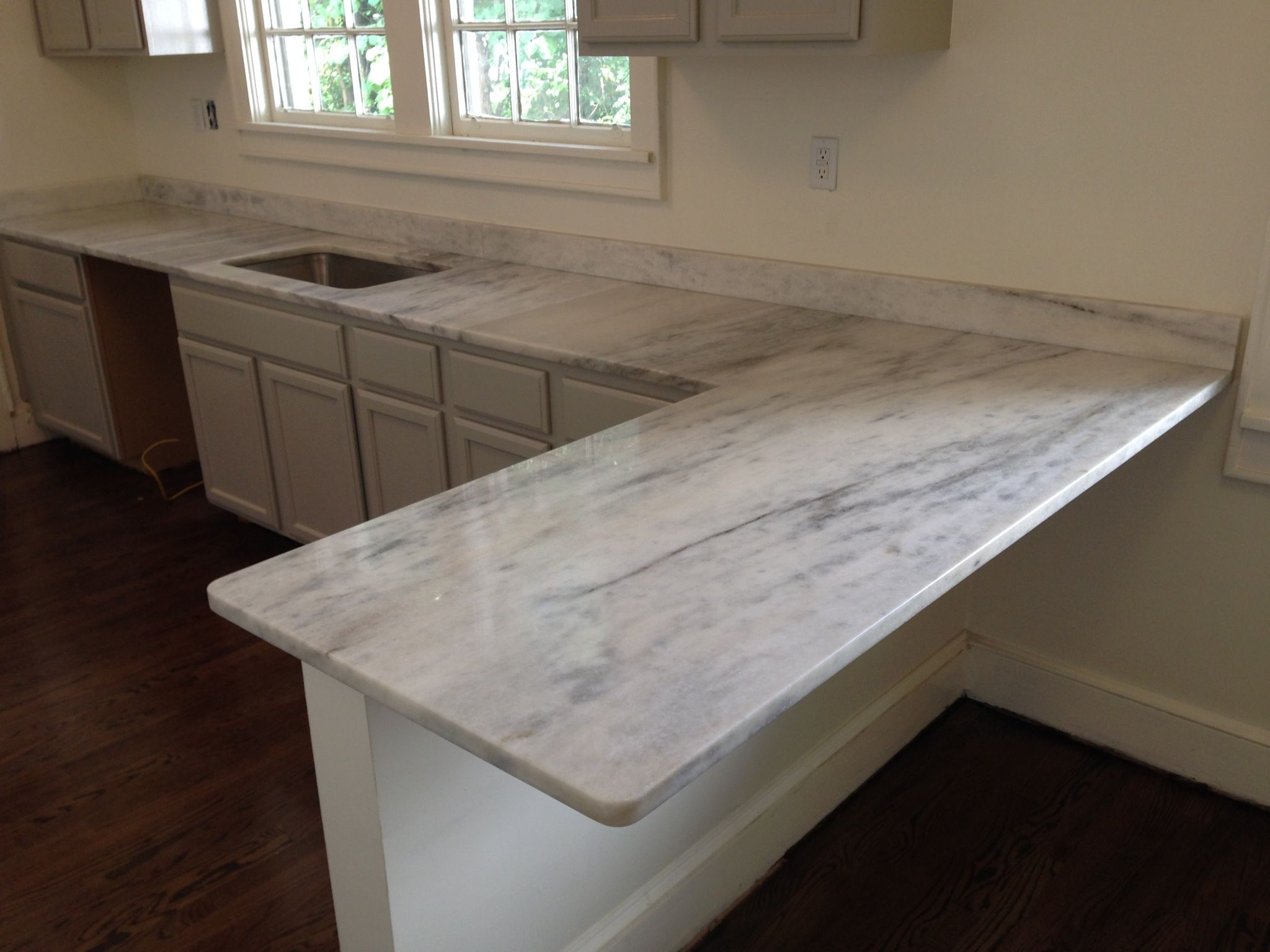 on cabinets pin farm and kitchen thick with marble tone sink carrara gray countertops countertop our