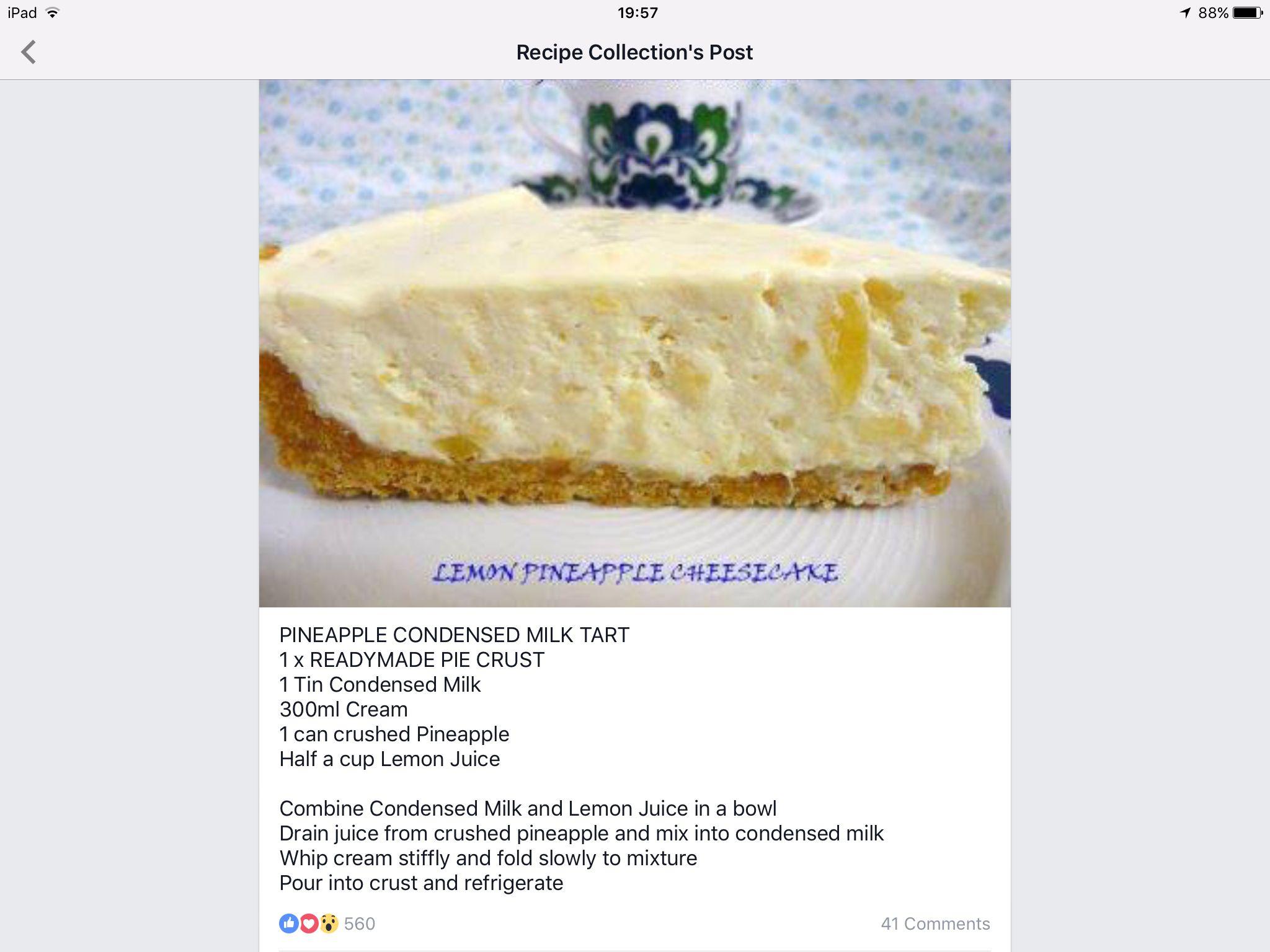 Pineapple Condensed Milk Tart Condensed Milk Desserts Latin Desserts Milk Tart