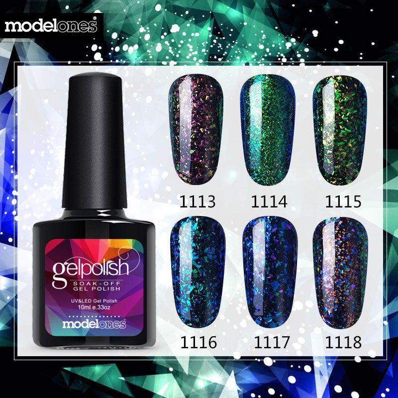 Sale Modelones Shiny galaxy Nail Gel Polish Colorful Glitter Gel ...