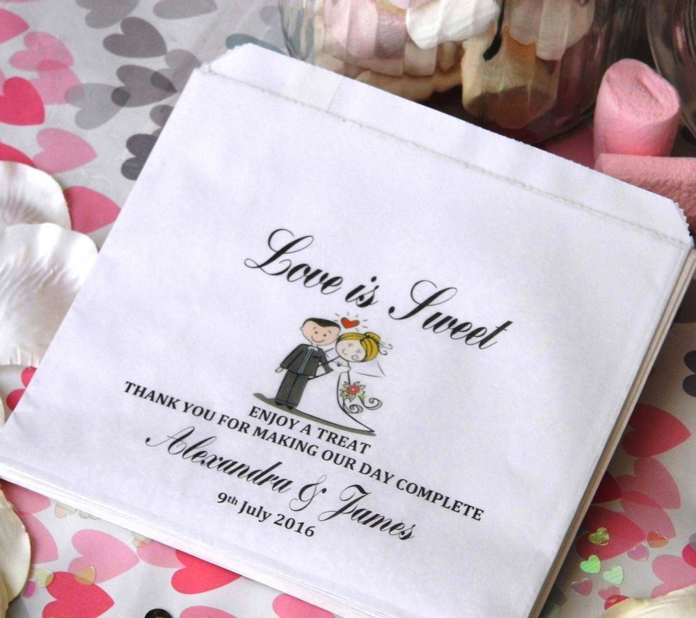 Personalised wedding sweet candy cart favour bags brown or white ...
