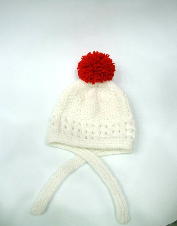 9c430f28459 Hand knitted WHITE BABY HAT with red pompom--0-3 months baby hat ...