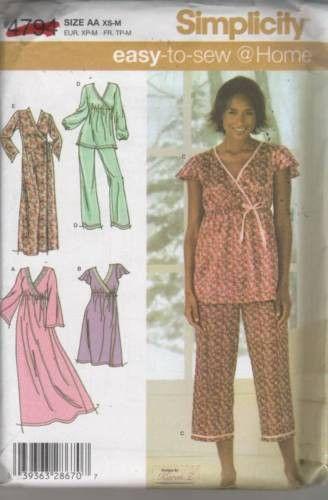 ... top Closet  high fashion b471a 07432 4794 Sewing Pattern Ladies Pajamas  Nightgown XS S M ... 7da41f807