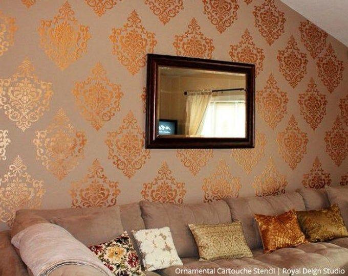 Ruban treillis treillis mural pochoir modèle de papier peint – peinture murale classique grand Designs pour peinture murale de la chambre à coucher, salle de séjour, chambre denfant