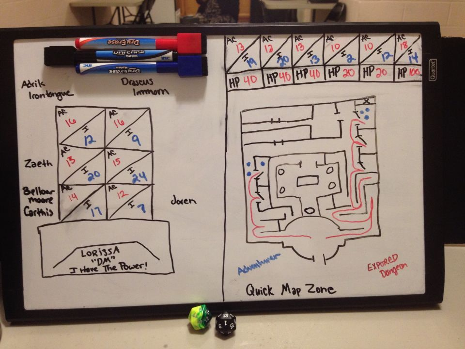 Behind The DM Screen! Use a dry erase board to keep up with