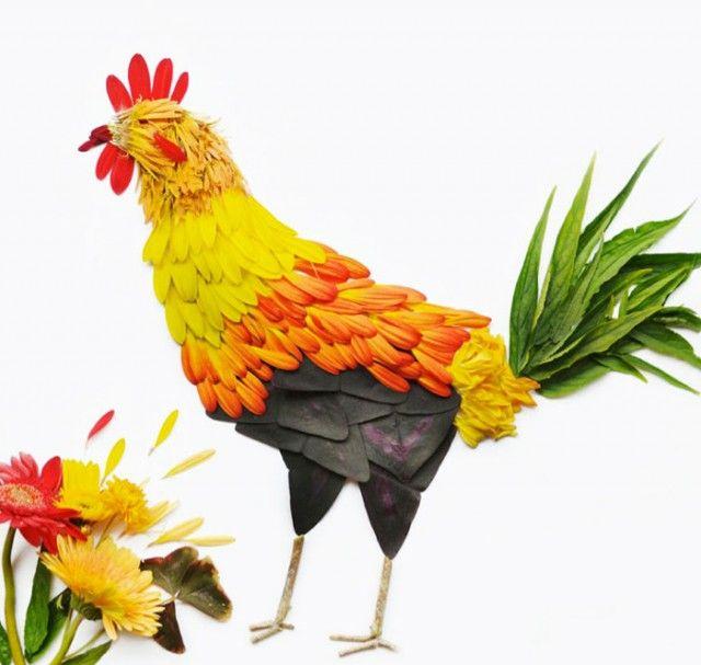 Exotic Birds in Flower Petals by artist Hong Yi.