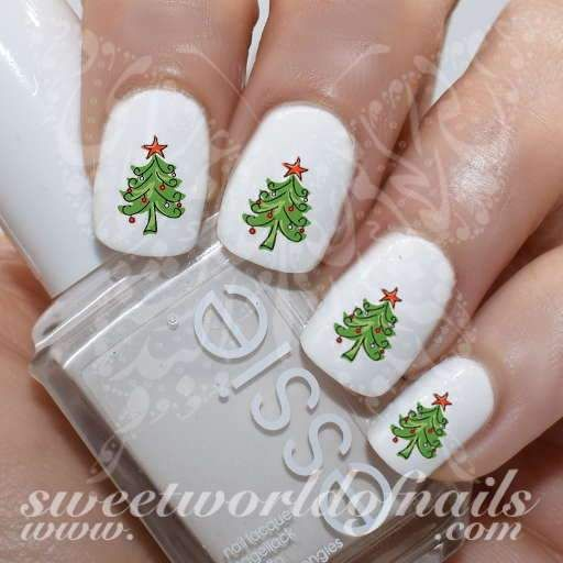 Christmas Tree Nail Water Decals - Christmas Tree Nail Water Decals Christmas Tree Nails, Tree Nails