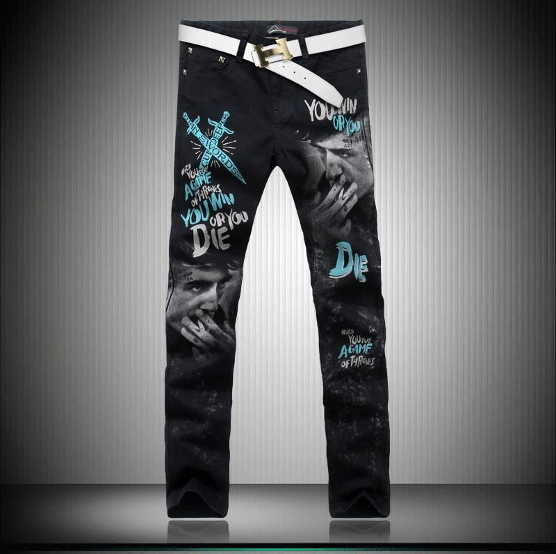2016 3d Painted Jeans Pants Fashion Straight Skinny Designer Streetstyle Stylish Jeans For Men Wholesale K 97 From Jeans1990, $29.28 | Dhgate.Com