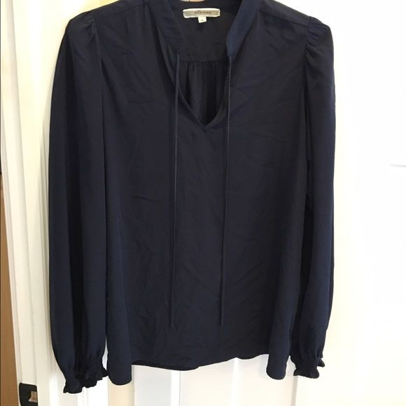 Navy Pleione silk blouse tapered sleeves Great blouse, I have it in three other colors but never wear this one. Wears loose, with the sleeve being worn down or scrunched up Pleione Tops Blouses