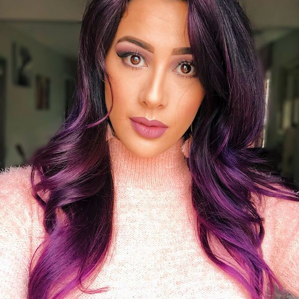 Purple everything! Click the link to see more Younique looks.  #youniqueproducts #purplemakeup #mauvelipstick #purplelipstick #purplehair #makeup