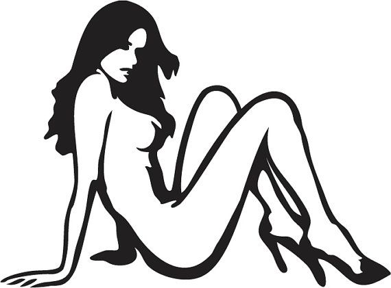 naked girl window decals