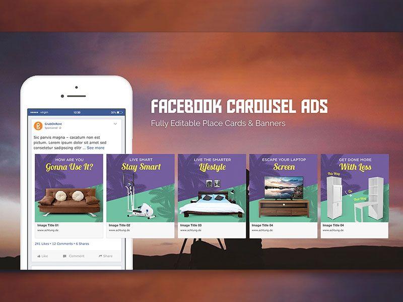 Facebook Ads Carousel Sets Banner Mockup Facebook Carousel Ads Facebook Canvas Ads Facebook Design