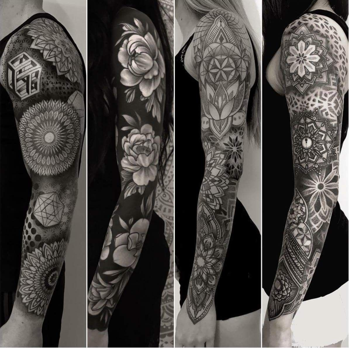 ff9e968e8b168 Nice sleeves by Sean Hall #inkoftheday #sleeve #tattoosleeve #geometric  #flowers #blackwork #tattoo #tattoodotcom