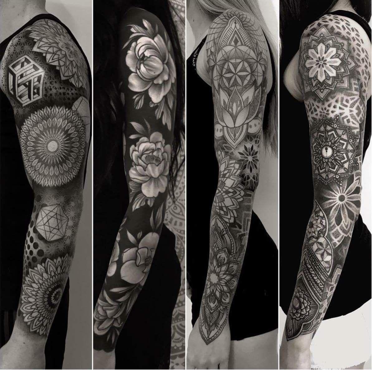 83b602bef Nice sleeves by Sean Hall #inkoftheday #sleeve #tattoosleeve #geometric  #flowers #blackwork #tattoo #tattoodotcom